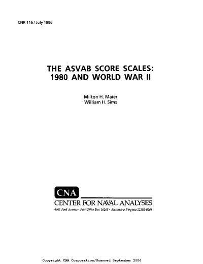 THE ASVAB SCORE SCALES 1980 AND WORLD WAR II     - CNA