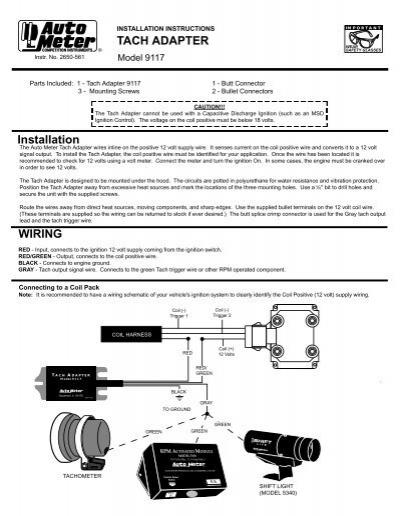 Diagram  Auto Meter 9117 Tachometer Adapter Installation