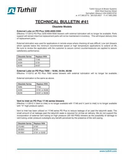 Technical Bulletin #41 - Obsolete Models - Tuthill Vacuum