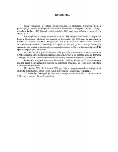 Biografija Nina Todorovic Je Rođena 01 11 1962 God U Ihtm