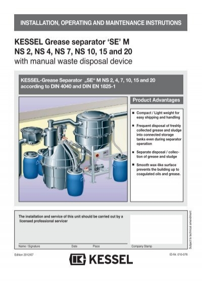 KESSEL Grease separator \'SE\' M NS 2, NS 4, NS 7, NS 10, 15 and ...