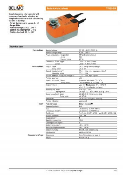 wiring diagram connect spring return actuator belimo tf230 sr for the operation of air