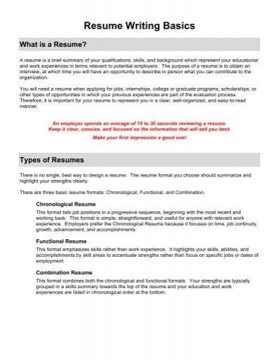resume writing basics lee college