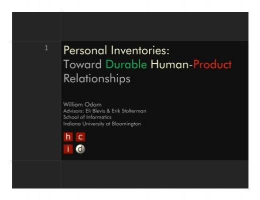 personal inventories toward durable human product will odom