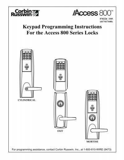 keypad programming instructions for the access 800 series locks
