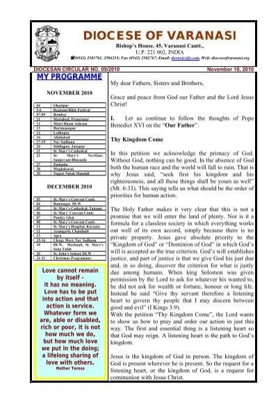 Previous Circular - Diocese Of Varanasi