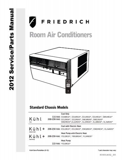 Standard Chassis Service Amp Parts Manual Friedrich Air