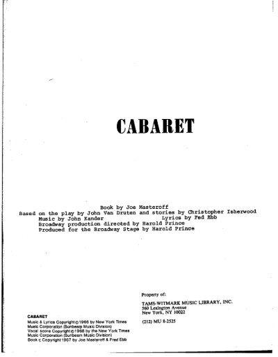 Cabaret Script pdf - Light Opera Works
