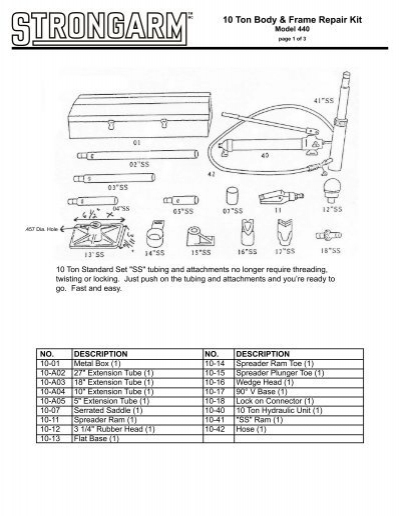 10 Ton Body & Frame Repair Kit - Strongarm