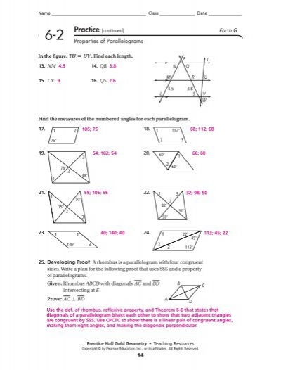 Printables Properties Of Parallelograms Worksheet geometry 6 2 properties of parallelograms worksheet answers intrepidpath