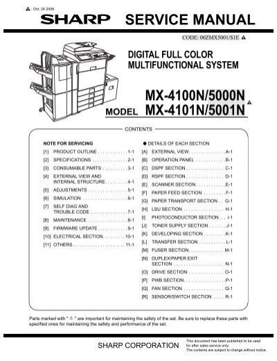 service manual mx 4100n 5000n mx 4101n 5001n 1 gomaq rh yumpu com sharp mx-4100n service manual sharp mx 4100n user manual