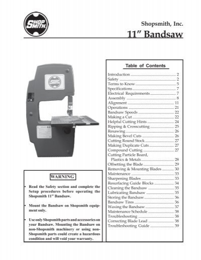 Owners Manual for Shopsmith Bandsaw (PDF)