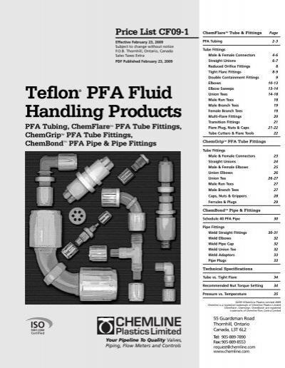 Teflon pfa fluid handling products chemline plastics