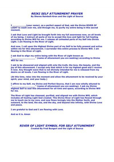 Reiki Self Attunement Prayer River Of Light Symbol