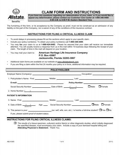 Allstate Customer Care >> Allstate Benefits Critical Illness Claim Form