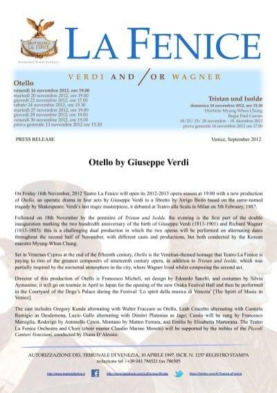 Pdf Otello Press Comunication Teatro La Fenice