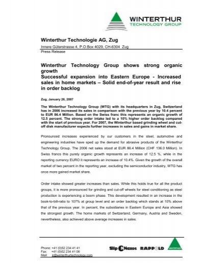 Winterthur Technologie AG, Zug Winterthur Technology Group ...