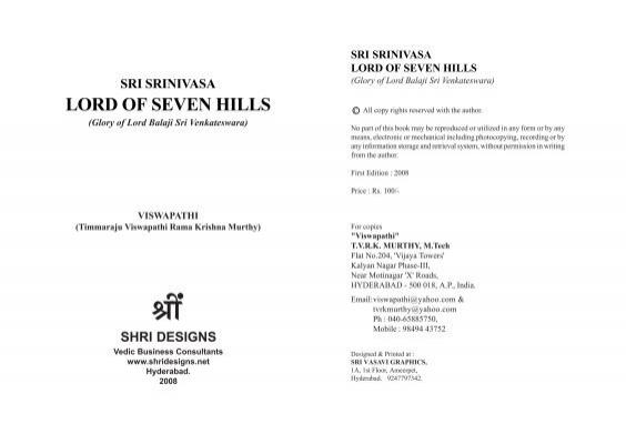 sri srinivasa lord of seven hills - Andhra-Telugu
