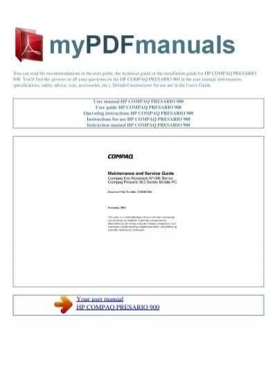 user manual hp compaq presario 900 my pdf manuals rh yumpu com hp compaq la2405wg user manual compaq 6710b user manual