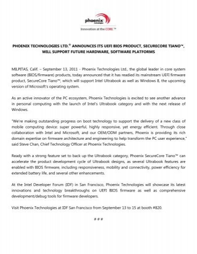 Phoenix Technologies Announces its UEFI BIOS Product, SecureCore