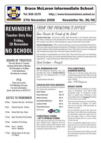 reminder! no school - bruce mclaren intermediate