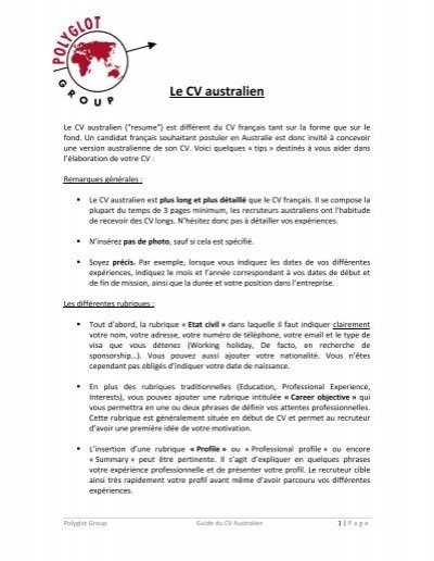 Guide Du Cv Australien Polyglot Group
