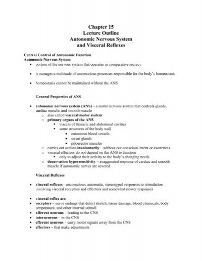 Chapter 15 Lecture Outline Autonomic Nervous System and Visceral ...