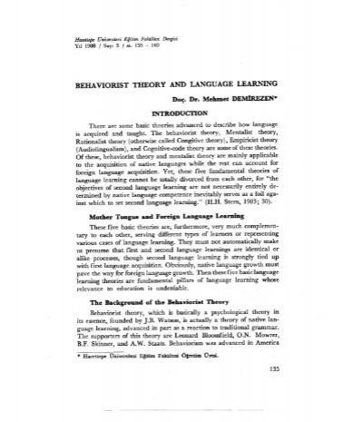 behaviorist theory of language acquisition pdf