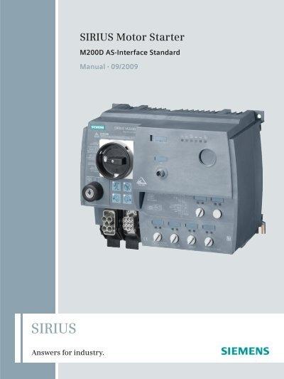 Manual Sirius Motor Starter M200d As Interface Standard