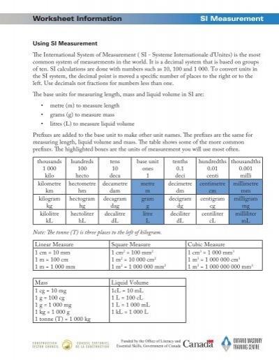 worksheet information si measurement. Black Bedroom Furniture Sets. Home Design Ideas
