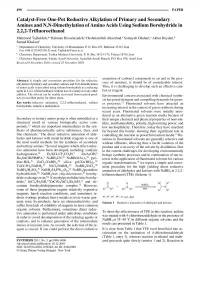 Catalyst-Free One-Pot Reductive Alkylation of Primary and