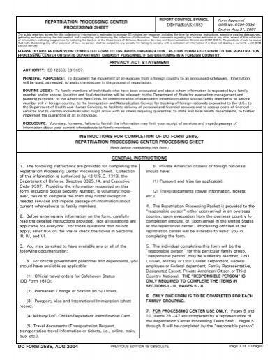 Dd Form 2585 Instructions