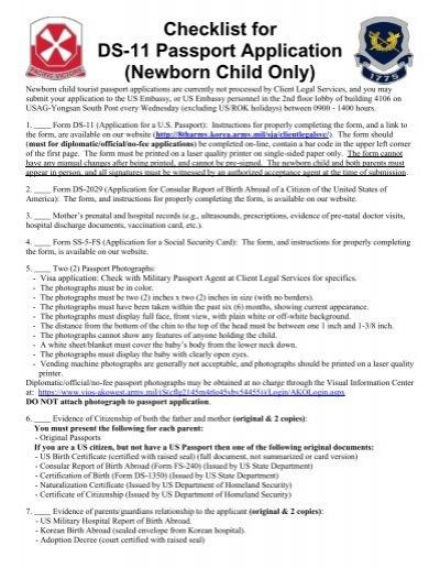 Checklist For Ds 11 Passport Application Newborn Child Only