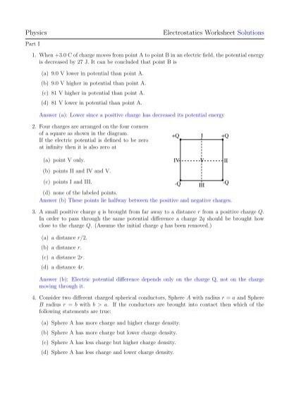 Printables Electrostatics Worksheet physics electrostatics worksheet solutions academic program program