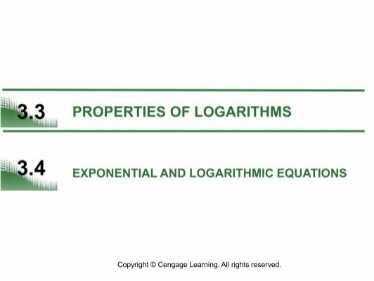 Precalculus 33 Properties of Logarithms Objectives – Exponential and Logarithmic Equations Worksheet