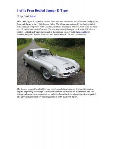 1 Of 1 Frua Bodied Jaguar E Type Allcarcentral Com