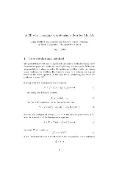 A 2D electromagnetic scattering solver for Matlab