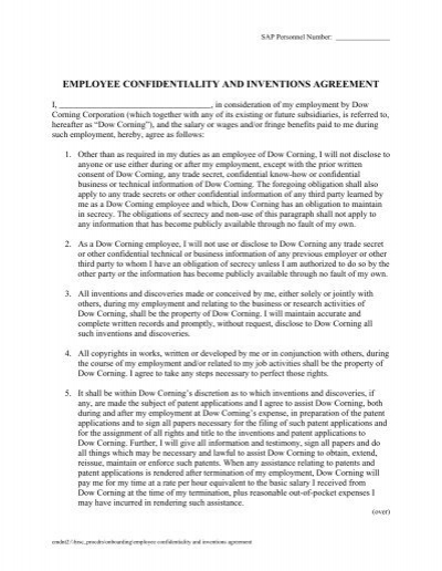 Doc460595 Employment Confidentiality Agreement Employee – Employee Confidentiality Agreement