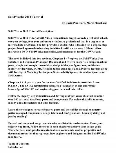 Solidworks 2012 Tutorial Pdf Ebooks Free Download