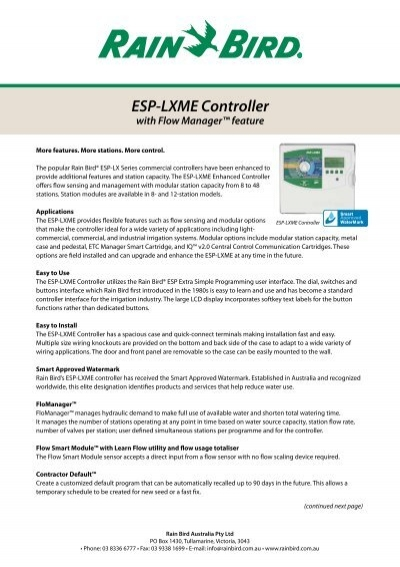 rain bird® esp lx modular controller sprinkler talk esp lxme controller flow manager™ feature rain bird