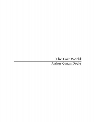 Arthur Conan Doyle The Lost World Pdf Bookstacks