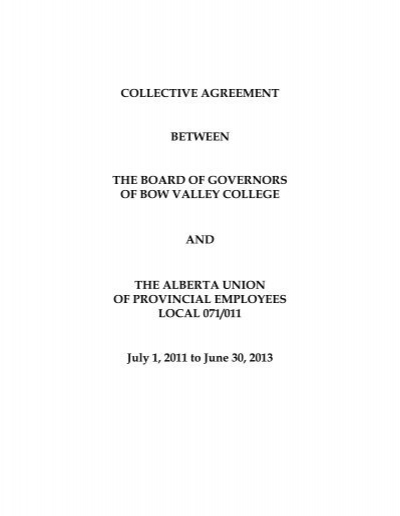 Aupe Collective Agreement Bow Valley College