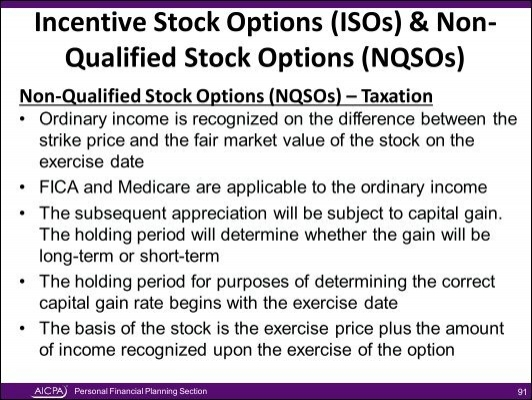 Non qualified stock options vs incentive