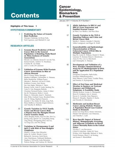 Toc Pdf Cancer Epidemiology Biomarkers Prevention