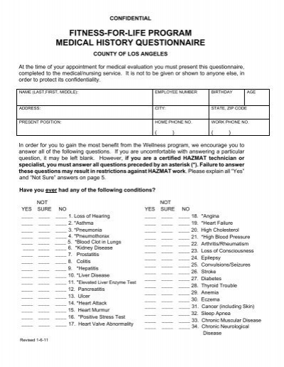 family medical history questionnaire