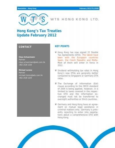 Hong Kongs Tax Treaties Update February 2012 Wts Alliance