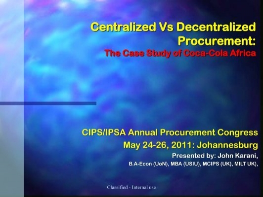 centralised and decentralised purchasing The role of centralized procurement in large companies is a hybrid of centralized and decentralized where the operational element of the procurement activity.