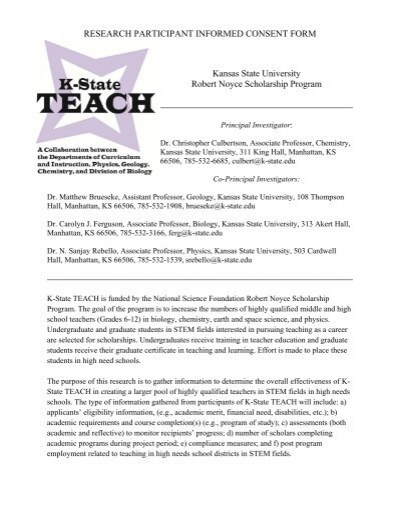 Noyce Informed Consent Form  The KState College Of Education
