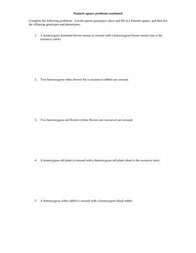 Monohybrid Cross Worksheet With Answers - Sharebrowse
