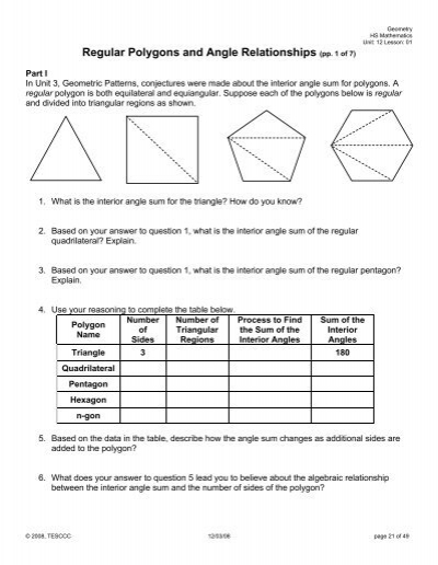 Regular Polygons And Angle Relationships
